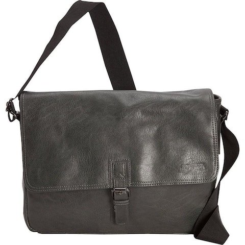 Kenneth Cole Reaction Pebbled Faux Leather Single Compartment Crossbody Flapover 15-inch Laptop Messenger Bag