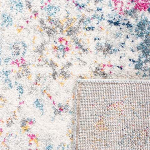 Safavieh Madison Avery Vintage Floral Ivory / Aqua Distressed Rug