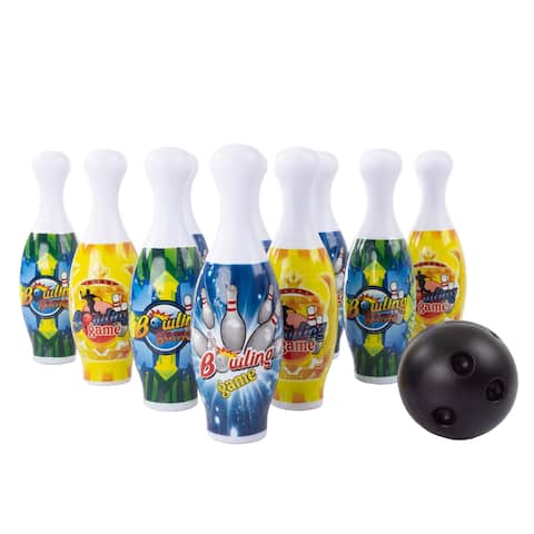 Toy Bowling Pin Set-10 Mini Plastic Pins and 2 Balls to Roll with Carry Tote, Indoor or Outdoor Fun Game Play by Hey Play!