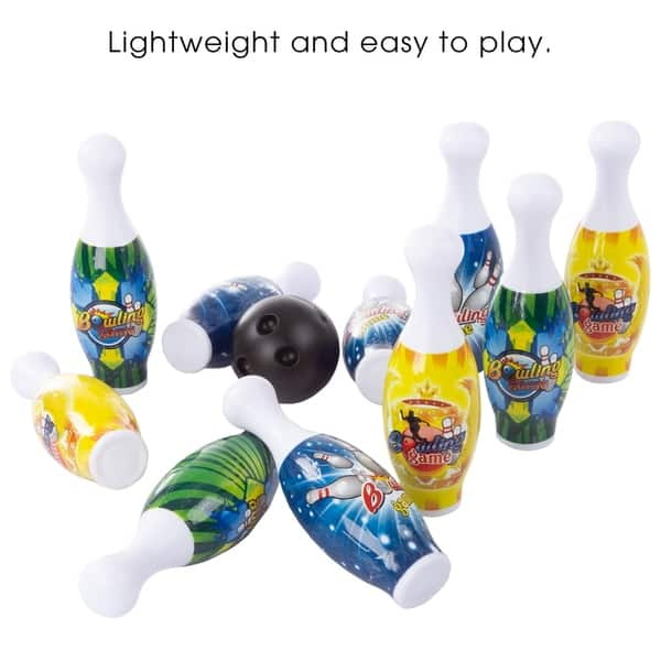 Shop Toy Bowling Pin Set-10 Mini Plastic Pins and 2 Balls to