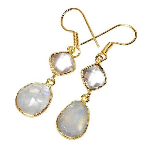 Handmade Gold-overlay Crystal & Rainbow Moonstone Earrings (India)