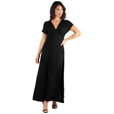 24seven Comfort Apparel Women's Empire Waist Flowy V Neck Maxi Dress
