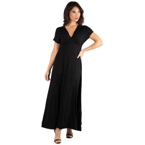 b0b52b08e1 24seven Comfort Apparel Women s Empire Waist Flowy V Neck Maxi Dress