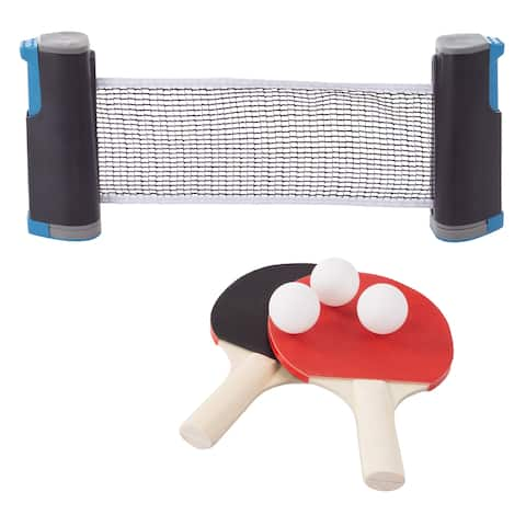 Table Tennis Set  Portable Instant Two Player Game with Retractable Net, Wooden Paddles and Balls for Two Players by Hey! Play!