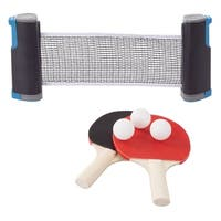 Table Tennis Set – Portable Instant Two Player Game with Retractable Net, Wooden Paddles and Balls for Two Players by Hey! Play!