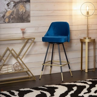 Victor Mid-Century Swivel Barstool in  Blue with Black and Gold Frame (As Is Item)
