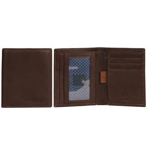 Ben Sherman Full-Grain Leather Slim Square Front Pocket Bifold Five Pocket Anti-Theft RFID Wallet - Multiple Colors