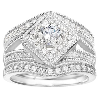 Vintage Halo Engagement Ring and Ring Guard Bridal Set (2 Rings) in Sterling Silver and Cubic Zirconia (1.50 CT)