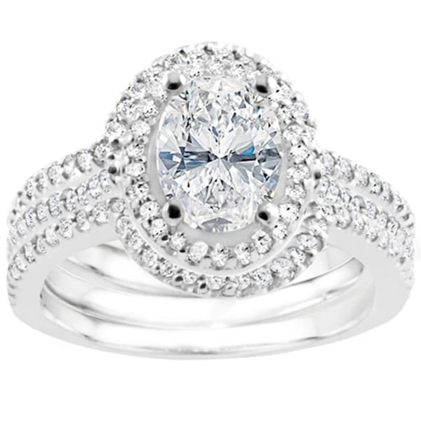 New Oval Halo Cubic Zirconia Handmade Engagement Ring Size-7 Jewelry & Watches