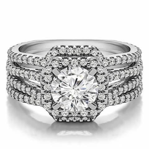 Square Halo Engagement Ring and Ring Guard Bridal Set (2 Rings) in Sterling Silver and Cubic Zirconia (1 3/4 CT)