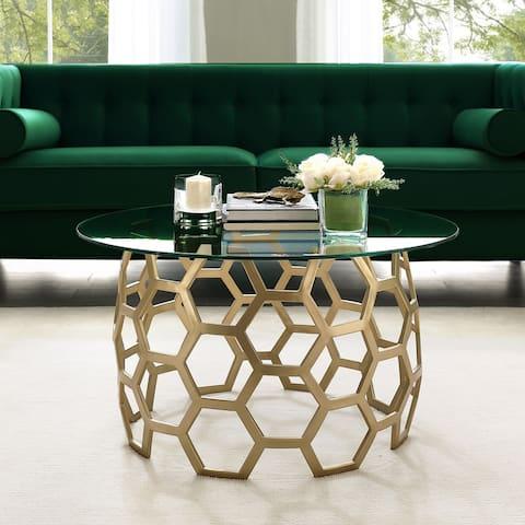 Carson Carrington Valsater Clear Glass/Iron Modern Round Coffee Table
