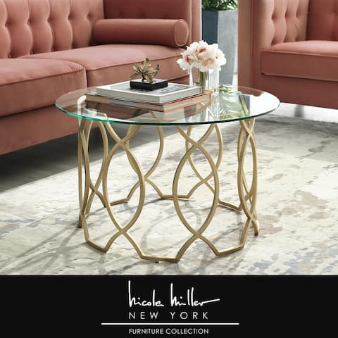 Nicole Miller Ian Clear Glass Round-top Coffee Table with Metal Frame