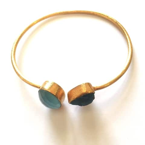 Sitara Handmade Gold-overlay Blue Onyx & Apatite Bracelet (India)