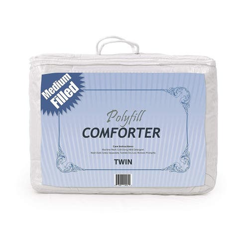 Polyfill Comforter Cotton Fabric Hypoallergenic White Color - Twin Size - 64x82