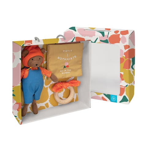 Manhattan Toy Petit Botaniste Bear Doll, Soft Book, and Wooden Teether Baby Soothing Gift Set