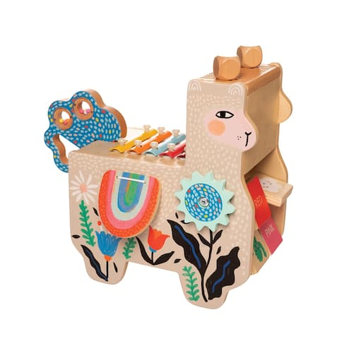 Manhattan Toy Musical Llama Wooden Instrument for Toddlers with Maraca, Clacking Saddlebags, Drumsticks, Washboard and Xylophone