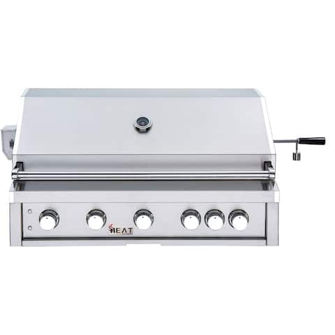Heat 40-In. Built In 5-Burner Natural Gas Grill in Stainless Steel with 1 Infrared Burner and BONUS Rotisserie Kit