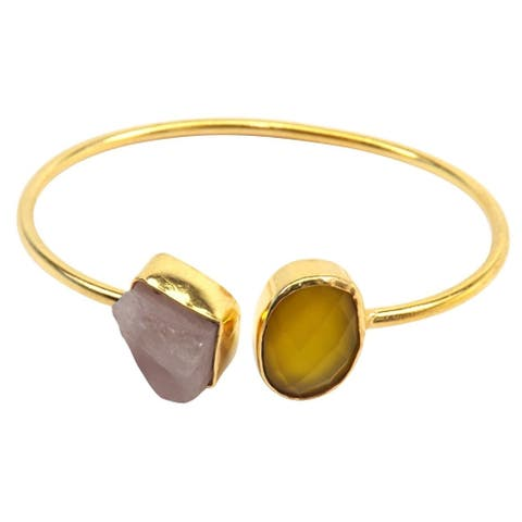 Handmade Gold-overlay Yellow Onyx & Rose Quartz Bangle (India)