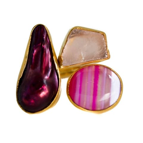 Handmade Gold-overlay Rose Quartz, Biwa Pearl, Pink Onyx Ring (India)