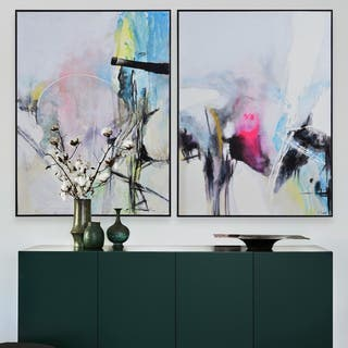 Renwil Elma Framed Abstract Black Canvas Art Set