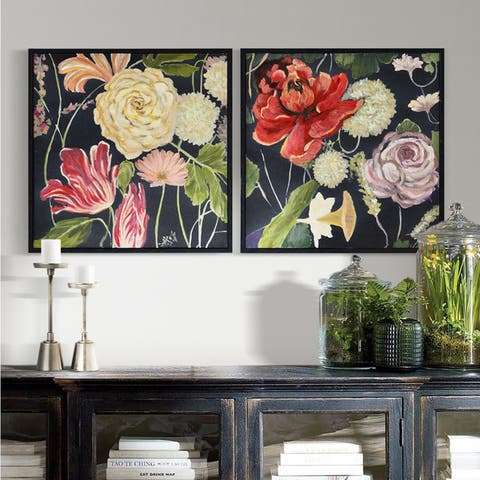 Strick & Bolton Framed Black Woodgrain Canvas Art