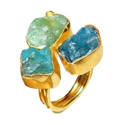 Handmade Gold Overlay Apaite and Aqua Ring (India)