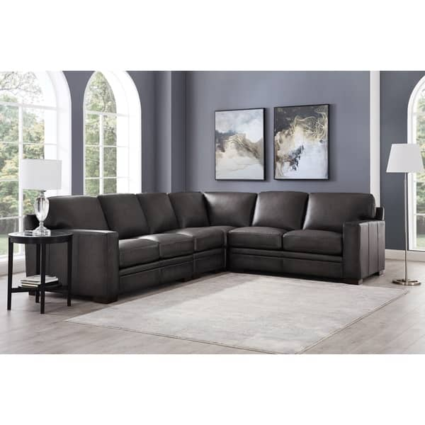 Awesome Shop Hydeline Dillon 100 Leather 4Pc Sofa Sectional Gray Caraccident5 Cool Chair Designs And Ideas Caraccident5Info