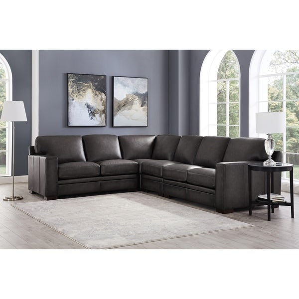Hurry Up For Your Best Cheap Sofas On Sale: Shop Hydeline Dillon 100% Leather 4PC Sofa Sectional, Gray