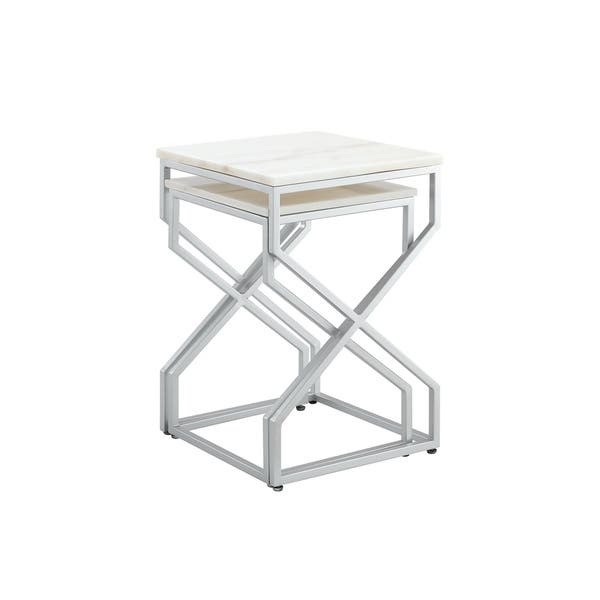 Fabulous Shop Silver Orchid Frederick Natural Square Marble End Or Short Links Chair Design For Home Short Linksinfo