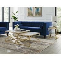 Silver Orchid Frederick Natural Square Marble End or Coffee Table (Set of 2)
