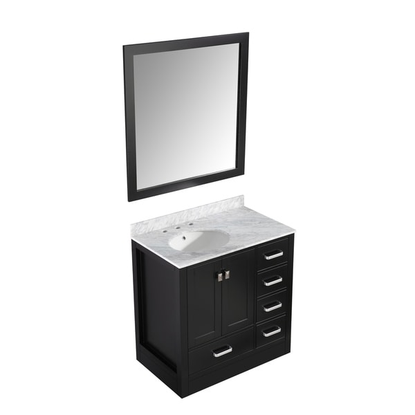 ANZZI Chateau 36 in. W x 35 in. H Rich Black Single Sink Skirted Vanity Set