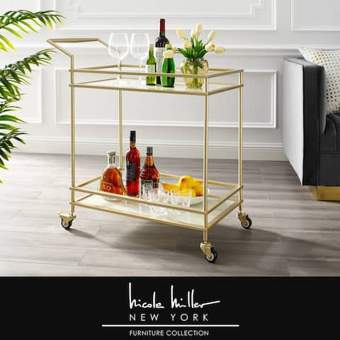 Nicole Miller Felix Bar Cart, 2 Serving Shelves, Casters/ 2 Locking