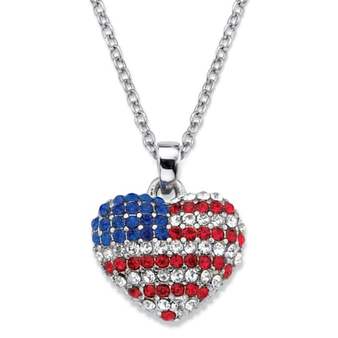 Silver Tone American Flag Heart Pendant Red White and Blue Crystal