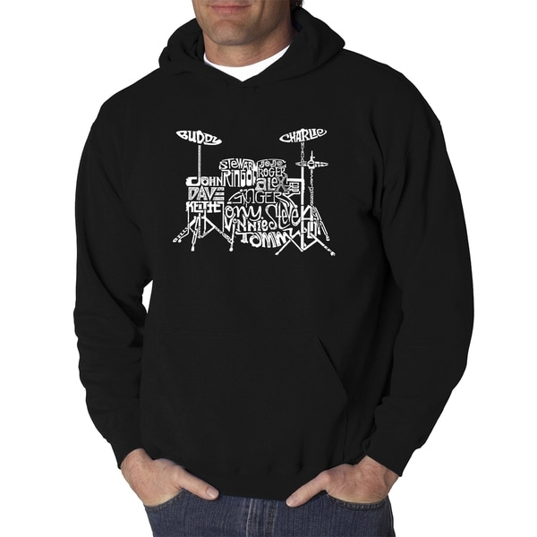 Mens Word Art Hooded Sweatshirt - Drums - LA Pop Art