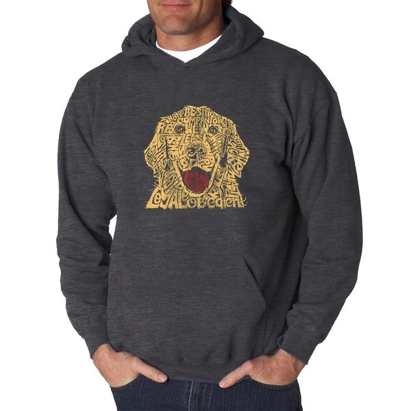 Mens Word Art Hooded Sweatshirt - Dog - LA Pop Art