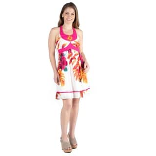 24seven Comfort Apparel Women's Knee Length Floral Hot Pink Halter Dress
