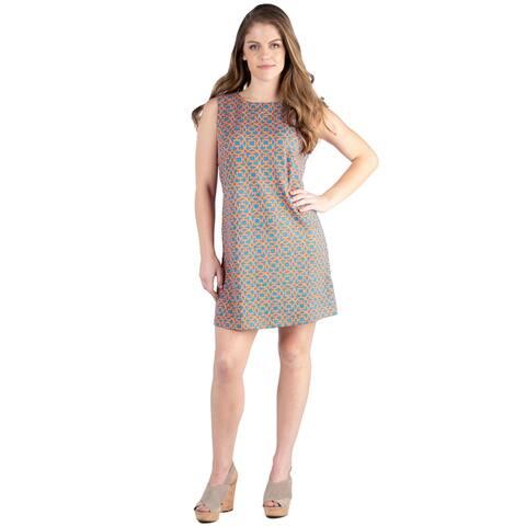 24seven Comfort Apparel Women's Sleeveless Knee Length Shift Dress