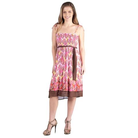24seven Comfort Apparel Flowey Pink Sleeveless Summer Dress