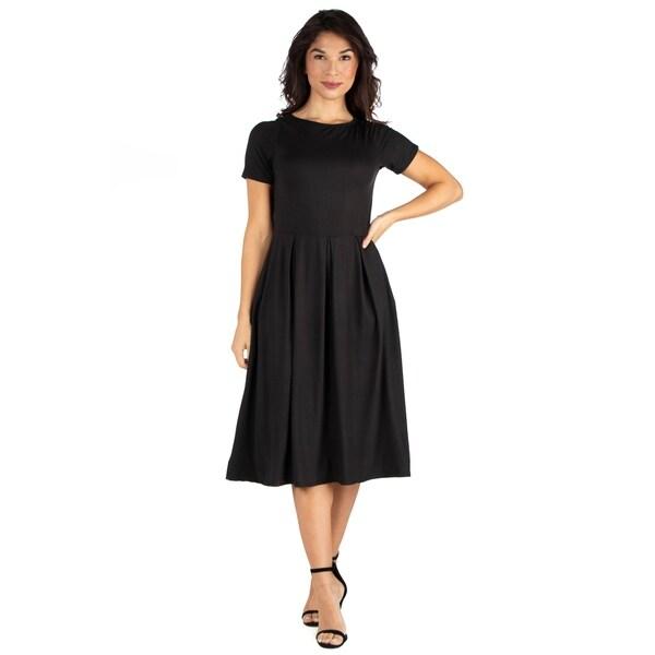 105f0453b94 Shop 24seven Comfort Apparel Short Sleeve Midi Skater Dress With ...