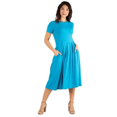 24seven Comfort Apparel Wome's Short Sleeve Midi Skater Dress with Pockets
