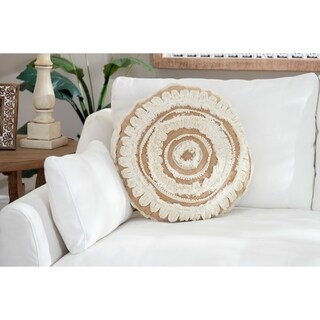 """Decorative Throw Pillow w/ Embroidered Trim & Fringe Detail 20"""""""