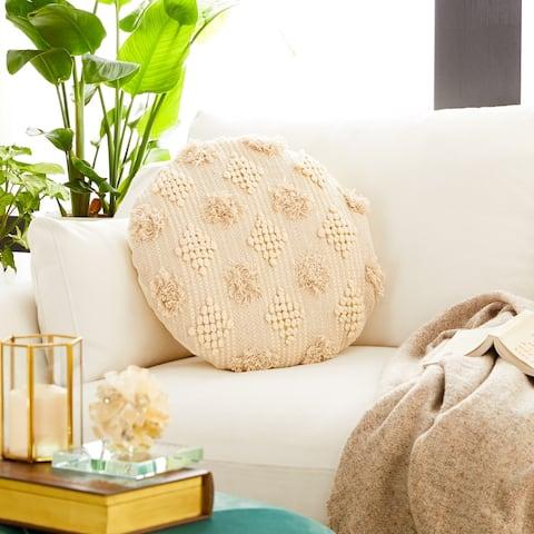 Handmade Throw Pillow w/ Pompoms & Diamond Pattern
