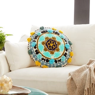 """Decorative Throw Pillow w/ Eclectic Mandala Embroidery 20"""""""