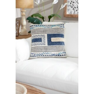 "Decorative Throw Pillow w/ Boho Patterns & Fringe Detail 20"""
