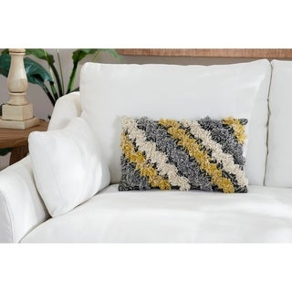 "Decorative Throw Pillow w/ Striped Fringe Detail 20"" x 12"""