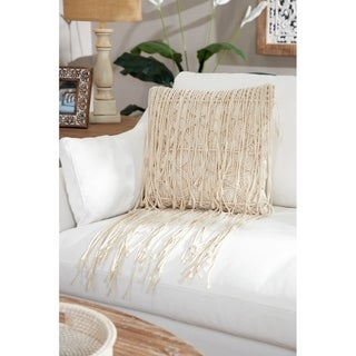 Embroidered Decorative Throw Pillow w/ Extra Long Fringe Trim