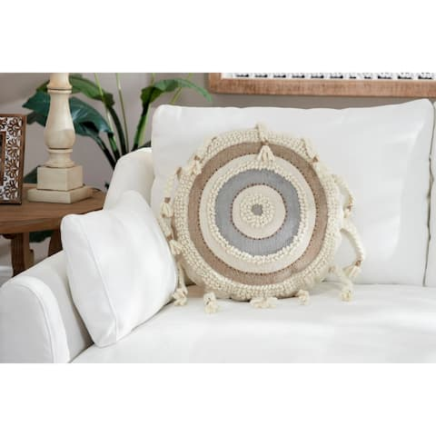 "Striped Decorative Throw Pillow w/ Braided Tassels 20"""
