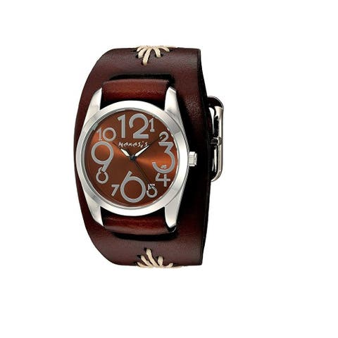 Nemesis ShowGirl Watch with Junior Size Dark Brown Diamond Stitched Leather Cuff Band BBF109B