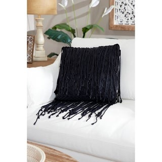 Embroidered Decorative Throw Pillow w/ Staggered Fringe Trim