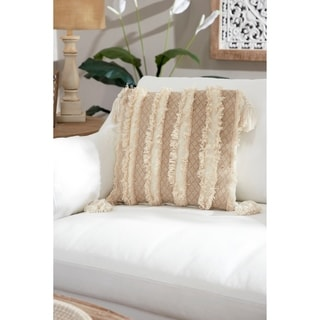 Decorative Throw Pillow w/ Embroidered Trim & Fringe Detail 20""